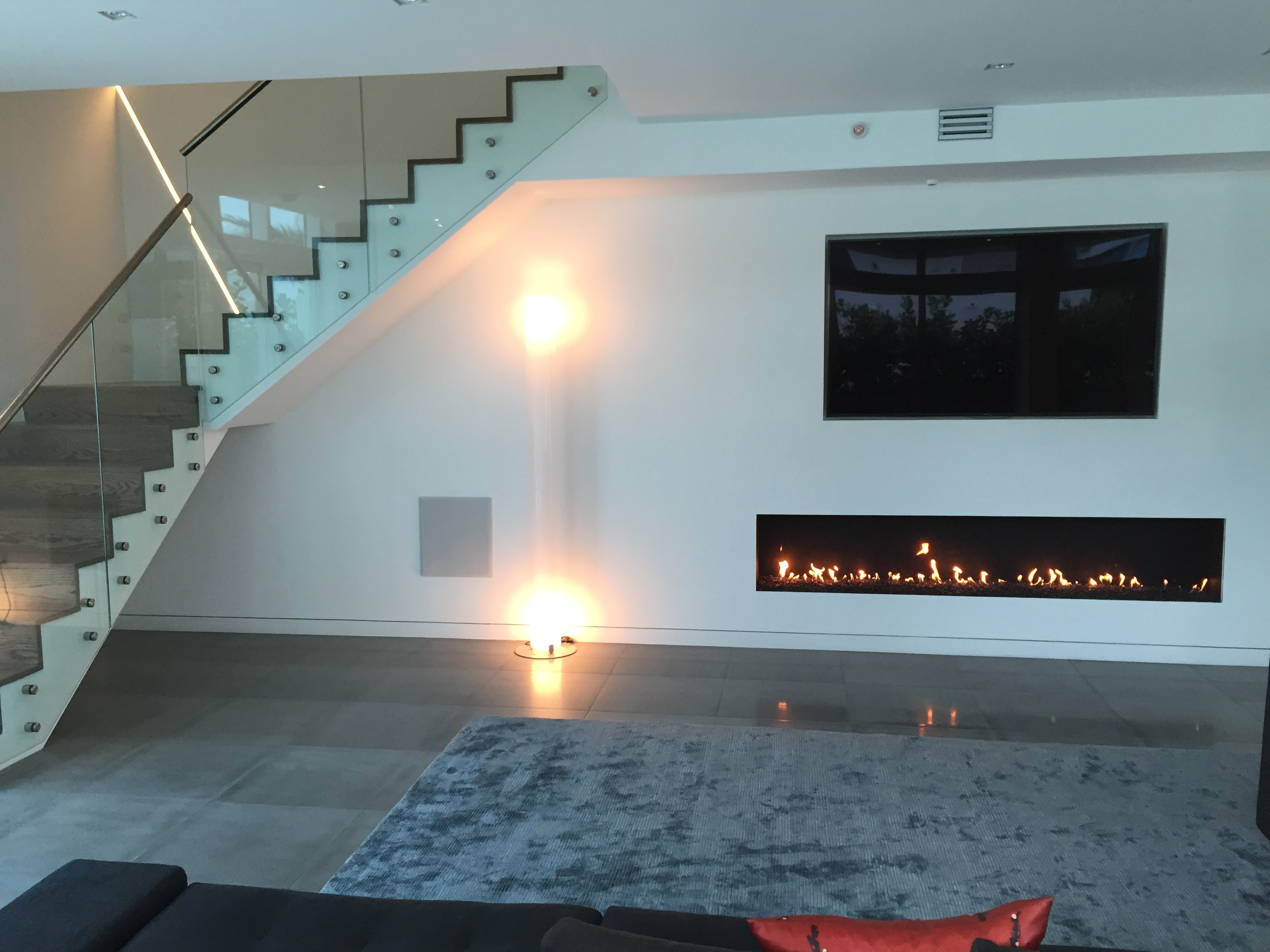8ft linear fireplace