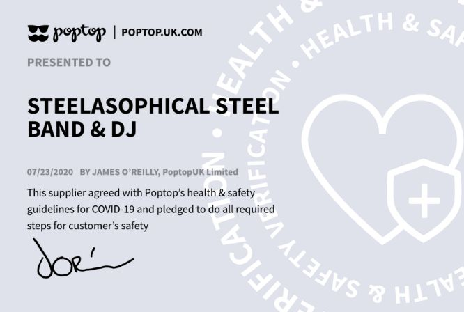 Steelasophical Steel Band COVID-19 Awareness Certificatated