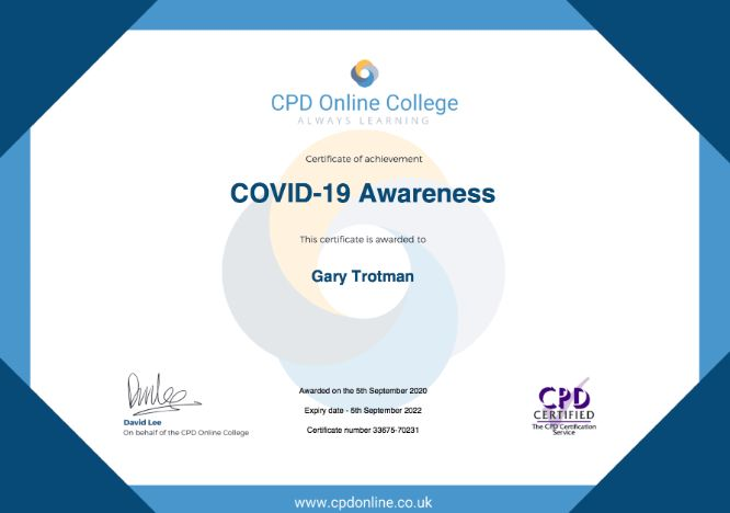 COVID19 awareness certification. Steelasophical Steelband